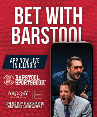 "smartphone with Big Cat and Dave Portnoy and text: ""Bet with Barstool / App Now Live in Illinois"" / Barstool Sportsbook, Hollywood Casino Alton & mychoice logos / Offered in partnership with Hollywood Casino Aurora"
